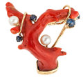 Estate Jewelry:Brooches - Pins, Branch Coral, Sapphire, Cultured Pearl, Gold Brooch. ...