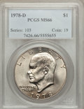 Eisenhower Dollars: , 1978-D $1 MS66 PCGS. PCGS Population (548/1). NGC Census: (572/4). Mintage: 33,012,890. Numismedia Wsl. Price for problem f...