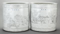Asian:Chinese, A PAIR OF CHINESE PORCELAIN CYLINDRICAL JARDINIÈRES. Marks: (chop marks in underglaze blue). 15-1/2 inches high x 15 inches ... (Total: 2 Items)