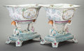 Ceramics & Porcelain, Continental:Modern  (1900 1949)  , A PAIR OF GERMAN PORCELAIN CENTERBOWLS ON FIGURAL BASES, Dresden,Germany, circa 1940. Marks: RK (addorsed), Dresden, ...(Total: 2 Items)