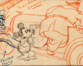 Animation Art:Production Drawing, Mickey's Service Station Mickey Mouse, Goofy, and Peg-LegPete Storyboard Drawing (Walt Disney, 1935)....
