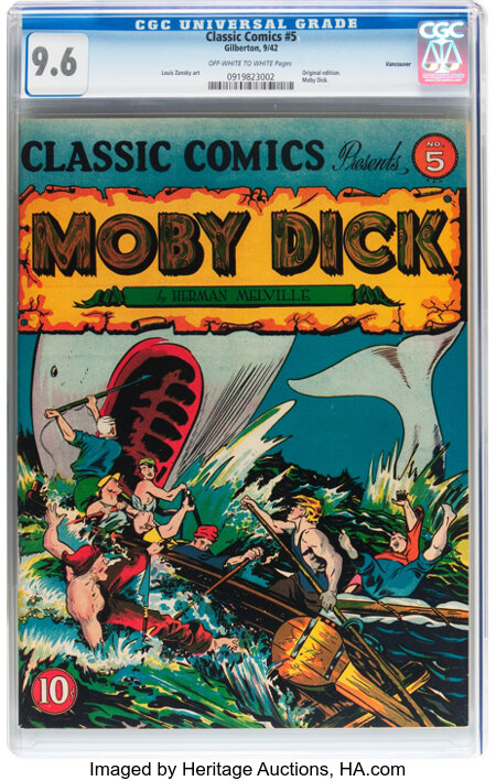 Classic Comics #5 Moby Dick - Original Edition - Vancouver pedigree (Gilberton, 1942) CGC NM+ 9.6 Off-white to white pages....