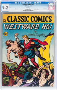 Classic Comics #14 Westward Ho - Original Edition - Vancouver pedigree (Gilberton, 1943) CGC NM- 9.2 White pages