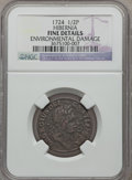 Colonials: , 1724 1/2P Hibernia Halfpenny -- Environmental Damage -- NGCDetails. Fine. NGC Census: (1/21). PCGS Population (2/62). ...