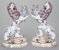 Art Glass:Galle, A PAIR OF GALLÉ FRENCH FAIENCE LIONS, Nancy, France, early 20thcentury. Marks: Gallé à Nancy, S Clément. 16-1/2 inches ...(Total: 2 Items)