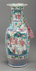Asian:Chinese, A CHINESE EXPORT FAMILLE ROSE PORCELAIN VASE, 20th century. 25inches high (63.5 cm). ...
