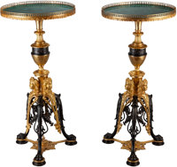 A PAIR OF GILT AND PATINATED BRONZE TABLES WITH MALACHITE TOPS, circa 1900 39 inches high x 19 inches diameter (99