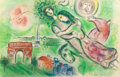 Fine Art - Work on Paper:Print, CHARLES SORLIER (French, 1921-1990) after MARC CHAGALL (French,1887-1985) . Romeo and Juliet, 1964. Color lithograph. 2...