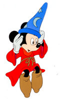 Animation Art:Production Cel, Mickey Mouse as the Sorcerer's Apprentice Television CommercialProduction Cel and Drawing Group (Walt Disney, 1980s).... (Total: 2Original Art)