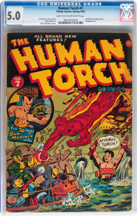 The Human Torch #7 (Timely, 1942) CGC VG/FN 5.0 Light tan to off-white pages