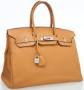 Luxury Accessories:Bags, Hermes 35cm Sable Fjord Leather Birkin Bag with Palladium Hardware....
