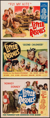 "Little Rascals (Monogram, R-1951 & R-1952). Stock Lobby Cards (3) (11"" X 14"") ""Fly My Kite,"" &qu..."