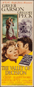 "Movie Posters:Drama, The Valley of Decision (MGM, 1945). Insert (14"" X 36""). Drama.. ..."