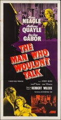 "Movie Posters:Crime, The Man Who Wouldn't Talk (British Lion, 1958). British Three Sheet(40"" X 79""). Crime.. ..."