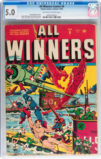 All Winners Comics #9 (Timely, 1943) CGC VG/FN 5.0 Off-white to white pages