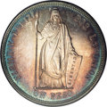 Peru: , Peru: Republic Silver Pattern Peso 1855-MB Lima, KM-Pn12, Proof 62NGC, a gorgeous coin with reflective surfaces and multihued ton...