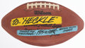 Football Collectibles:Balls, 1975 Los Angeles Rams Western Division Champions Painted Football - Presented to Rams Equipment Manager Heckle Lynn. ...