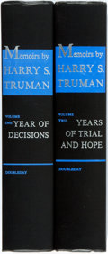 Books:Biography & Memoir, Harry S. Truman. Memoirs. Doubleday, 1955, 1956. First edition. Two octavo volumes. Publisher's black cloth. Ownersh... (Total: 2 Items)