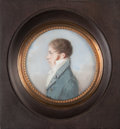 Fine Art - Painting, European:Antique  (Pre 1900), LOUIS AMI ARLAUD-JURINE (Swiss, 1751-1829). Portrait of EdouardBoissier. Watercolor on ivory laid on card. 3 inches (7....