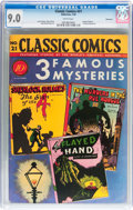 Golden Age (1938-1955):Classics Illustrated, Classic Comics #21 (1A) 3 Famous Mysteries - Original Edition - Vancouver pedigree (Gilberton, 1944) CGC VF/NM 9.0 White pages...
