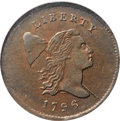 1796 1/2 C With Pole, C-2, B-2, High R.4, MS61 Brown NGC. Our EAC Grade AU50....(PCGS# 35098)