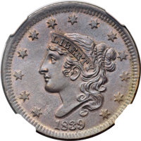 1839 1C Head of 1838, Beaded Cords, N-3, R.1, MS64+ Brown NGC. CAC. Our EAC Grade MS62....(PCGS# 37228)