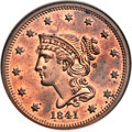 Proof Large Cents, 1841 1C PR64 Red and Brown NGC. CAC. N-1, R.5. Our EAC GradePR64....