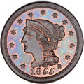 Proof Large Cents, 1855 1C PR65 Brown NGC. CAC. N-10, R.5 as a Proof. Our EAC GradePR63....