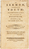 Books:Religion & Theology, Peres Fobes: A SERMON, ADDRESSED TO YOUTH...Providence: 1794. First edition. 31 pp, no half title, rubber number...