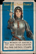 "Movie Posters:War, World War I Propaganda (United States Treasury, 1918). War SavingStamps Poster (20.5"" X 30.5"") ""Joan of Arc Saved France."" ..."