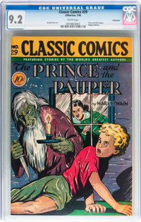 Classic Comics #29 The Prince and the Pauper - Original Edition - Vancouver pedigree (Gilberton, 1946) CGC NM- 9.2 White...