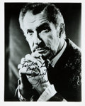 "Autographs:Celebrities, Vincent Price (1911-1993), American actor. Photograph Signed. Blackand white. Measures 8"" x 10"". Fine. . ..."