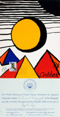 """Books:Prints & Leaves, Alexander Calder. LIMITED Chromolithograph to Accompany the UnitedNations Stamp Issue, """"Thirtieth Anniversary of the WFUNA."""" ..."""