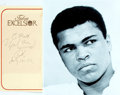 Autographs:Celebrities, Muhammad Ali (b. 1942, American boxer) Autograph. July 18, 1982.Tulsa Excelsior hotel paper place mat. Some adhesive residu...