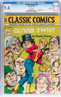 Classic Comics #23 Oliver Twist - Original Edition - Vancouver pedigree (Gilberton, 1945) CGC NM 9.4 White pages