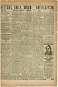 Miscellaneous:Newspaper, [Newspaper]. Norton's Daily Union Intelligencer. Dallas, TX,1882. Four pages on two leaves. Folded, with one horizo...
