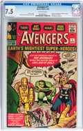 Silver Age (1956-1969):Superhero, The Avengers #1 (Marvel, 1963) CGC VF- 7.5 Off-white pages....