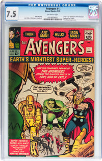 The Avengers #1 (Marvel, 1963) CGC VF- 7.5 Off-white pages