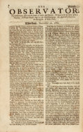 Miscellaneous:Newspaper, [Newspaper]. The Observator. 1682. A curious anti-Whig British newspaper written in the form of a dialogue. Single p...