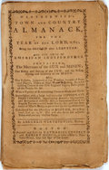 Books:Americana & American History, [Almanac]. Weatherwise's Town and Country Almanack, for the Yearof Our Lord, 1782. Boston: Nathaniel Coverly and Ro...