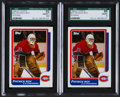 Hockey Cards:Lots, 1986 Topps Patrick Roy #53 Graded Pair (2). ...