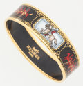 Luxury Accessories:Accessories, Hermes 70mm Black & Red Enamel Bangle with Gold Hardware. ...