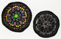 Prada Set of Two; Black Jeweled Brooch & Brown, Purple, and Green Jeweled Brooch