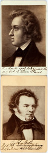 Photography:CDVs, [Carte de Visite]. Two Cartes de Visite of Musicians. Included are Franz Schubert and Frederic Chopin. Manuscript notes in a...