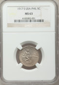 Philippines, Philippines: USA Administration 5 Centavos 1917-S MS63 NGC,...