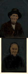 """Photography:Tintypes, Two Early Tintype Portraits. Ca. 1900. Both measure 6.5"""" x 8.5"""".Very good. From the collection of Zita Books. . ..."""