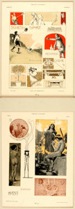 """Books:Prints & Leaves, Two German Lithographs from Gerlach's Allegorien. Matted tooverall sizes of 16"""" x 19"""". Very good. . ..."""