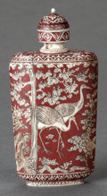 Asian:Chinese, A LARGE CHINESE ENAMELED SNUFF BOTTLE, Late 19th century. Marks:(chop marks). 4-1/2 inches high (11.4 cm). ...
