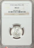 Philippines, Philippines: USA Administration 20 Centavos 1918-S MS63 NGC,...