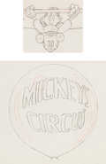 Animation Art:Production Drawing, Mickey's Circus Mickey Mouse Production Drawing AnimationArt Group (Walt Disney, 1936).... (Total: 2 Original Art)